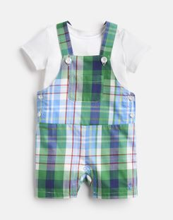 Joules US DUNCAN CHECK Baby Boys Woven Dungaree And T-Shirt Set BLUE MULTI CHECK
