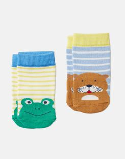 Joules US Neat Feet Boys Character Socks Two Pack MULTI OTTER FROG