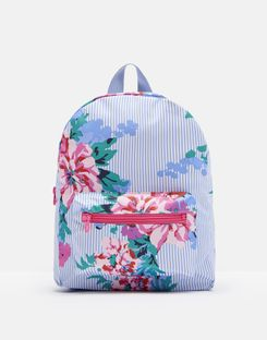 Joules US Adventure Girls Small Rubber Backpack SKY BLUE STRIPE FLORAL