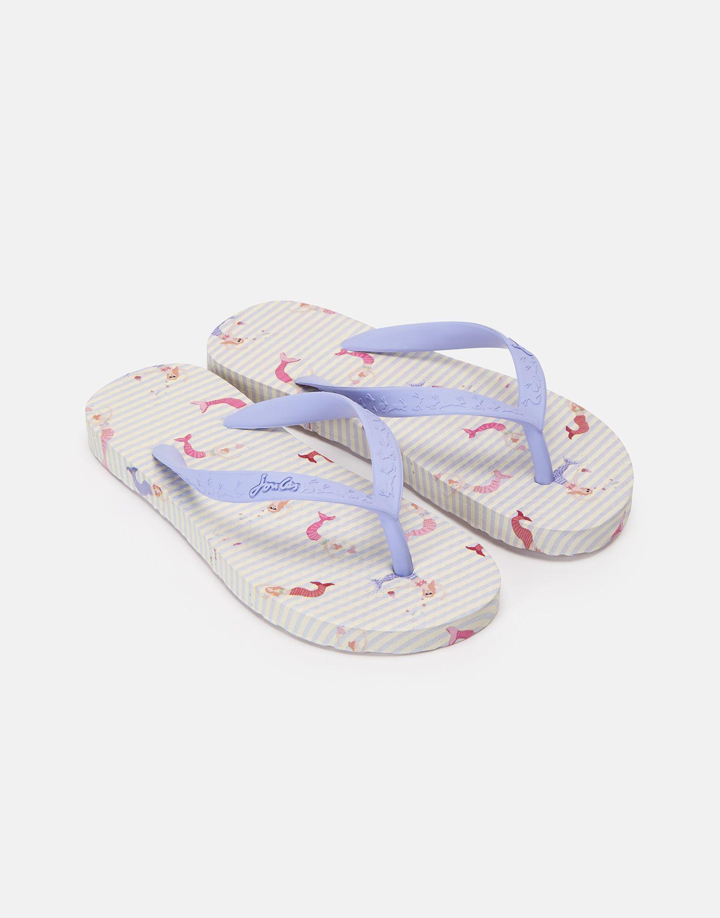 Joules 201367 Girls Rubber Slip On Summer Flip Flops White Mermaid Floral