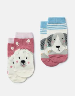 Joules US Neat Feet Baby Girls 2 Pack Character Socks MULTI DOGS