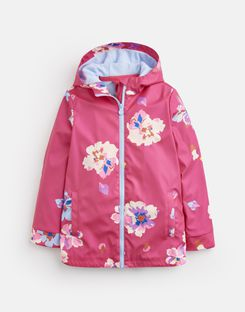 Joules US Raindance Older Girls Waterproof Rubber Coat 1-12 Yr BRIGHT PINK FLORAL