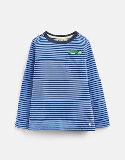 Joules US Winston Younger Boys Peeker Pocket T-Shirt 1-6 Yr BLUE STRIPE CHAMELEON POCKET