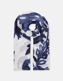 Joules UK Atmore Womens Oversized Square Cotton Scarf WHITE DAMASK