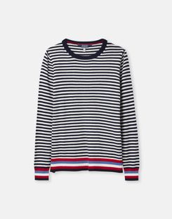 Joules US Esha Womens Crew Block Sweater NAVY CREAM STRIPE