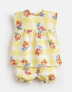Joules US Edith Baby Girls Woven Top And Shorts Set YELLOW GINGHAM FLORAL