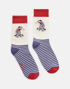 Joules US Brilliant Bamboo Womens Socks CREAM DOG