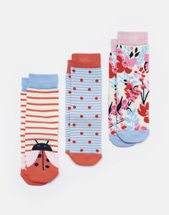Joules UK Brilliant Bamboo Girls Socks Three Pack PINK LADY BIRD