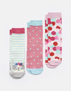 Joules UK Brilliant Bamboo Girls Socks Three Pack AQUA STRIPE CAT