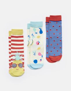 Joules UK Brilliant Bamboo Girls Socks Three Pack CORAL STRIPE PINEAPPLE