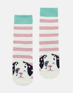 Joules UK Neat Feet Girls Character Intarsia Socks PINK STRIPE DALMATIAN