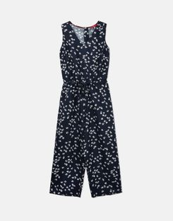 Joules US Angela Womens Linen Wide Leg Cropped Jumpsuit NAVY DITSY