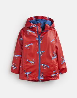 Joules US Skipper Younger Boys Showerproof Rubber Coat 1-6 Years RED PLANES