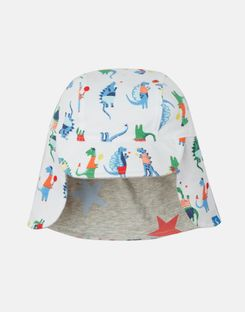 Joules UK Sunny Baby Boys Reversible Hat WHITE SPORT DINO