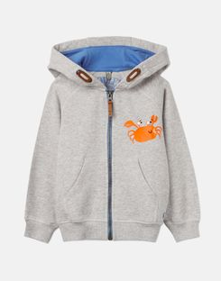 Joules US Seth Younger Boys Novelty Screenprint Hooded Sweatshirt 1-6 Yr GREY BEACH CRAB