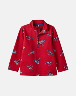 Joules US Dale Younger Boys Printed Overhead Sweat 1-6 Years RED PLANES