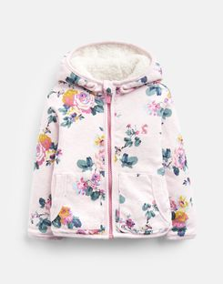 Joules US Cosette Baby Girls Reversible Printed Jacket PINK MARL SKELWITH