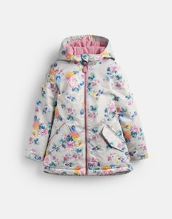 Joules UK Raindrop Older Girls Waterproof School Coat 3-12 Years GREY FLORAL