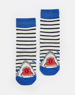 Joules UK Eat Feet Boys Character Socks NAVY STRIPE SHARK