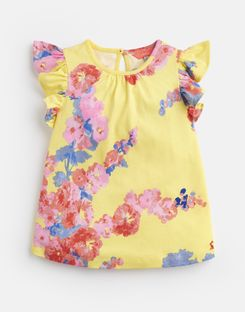 bad5a8a33 Joules UK Kaela Younger Girls Jersey Printed T-Shirt 1-6 Yr YELLOW FLORAL  ...