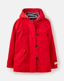 Joules UK Coast Older Girls Waterproof Coat 3-12 Years RED