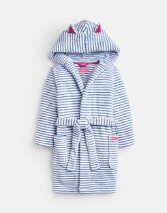 Joules UK Teddy Older Girls Novelty Dressing Gown WHITE BLUE STRIPE