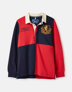 Joules US Try Older Boys Cut And Sew Rugby Shirt 3-12 Years RED ROBIN