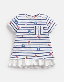 Joules US Lulabelle Younger Girls Jersey Printed T-Shirt 1-6 Yr CREAM STRIPE GLITTER BUGS
