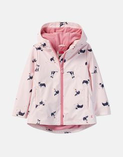Joules UK Raindance Print Younger Girls Showerproof Rubber Coat 1-6 Years CHALKY PINK DOG