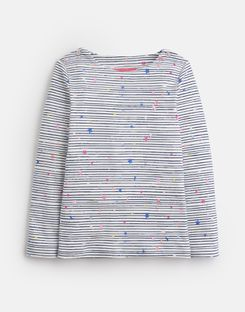 Joules UK Harbour Print Younger Girls Jersey Top 1-6 Yr NAVY STRIPE