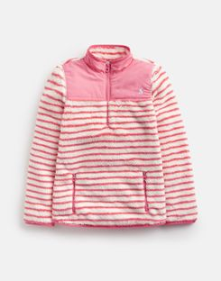 Joules US Elena Older Girls Half Zip Fleece 3-12 Yr CREME CORAL STRIPE