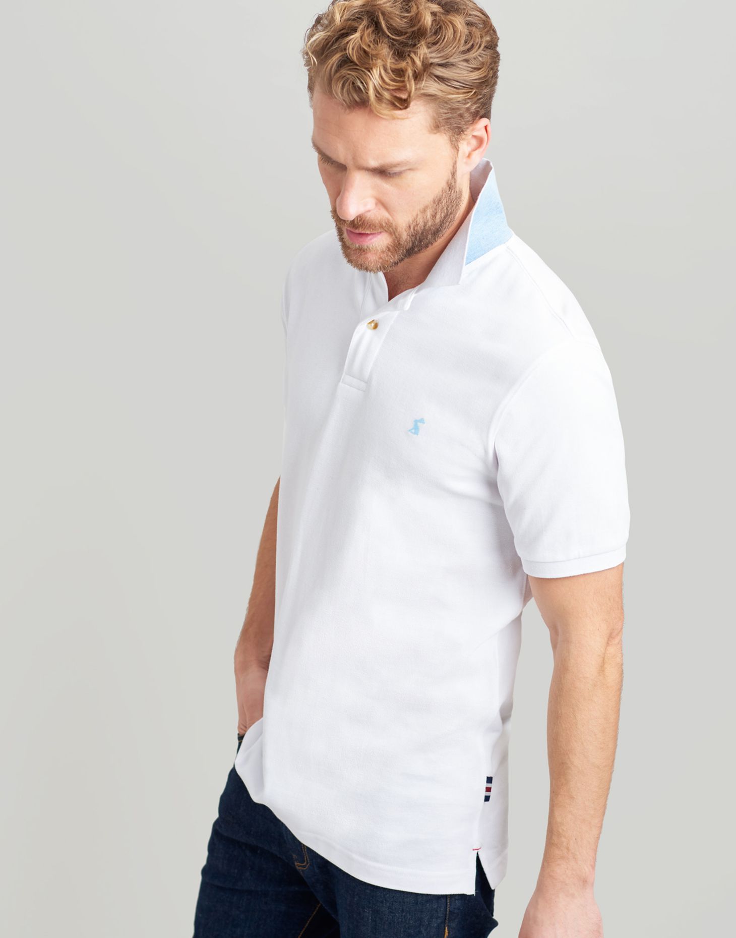 612f81db803 Woody slim WHITE Fit Polo | Joules UK