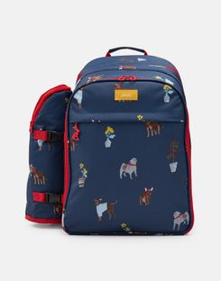Joules UK Picnic Rucksack Homeware Printed And Fully Insulated For Four People BLUE DOGS