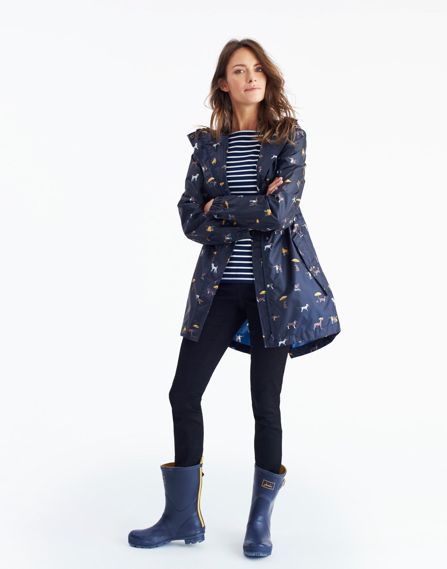Joules GoLightly Navy Star Packaway Jacket Waterproof Mac Coat Women 8 New