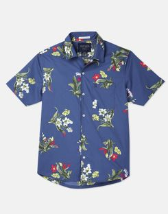 Joules US Revere Mens Short Sleeve Revere Collar Printed Shirt BLUE FLORAL