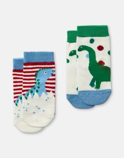 Joules US Neat Feet Baby Boys Pack of Two Character Socks MULTI DINO STRIPE