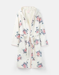 Joules US Ida Womens Jersey Fleece Lined Robe CREAM FLORAL