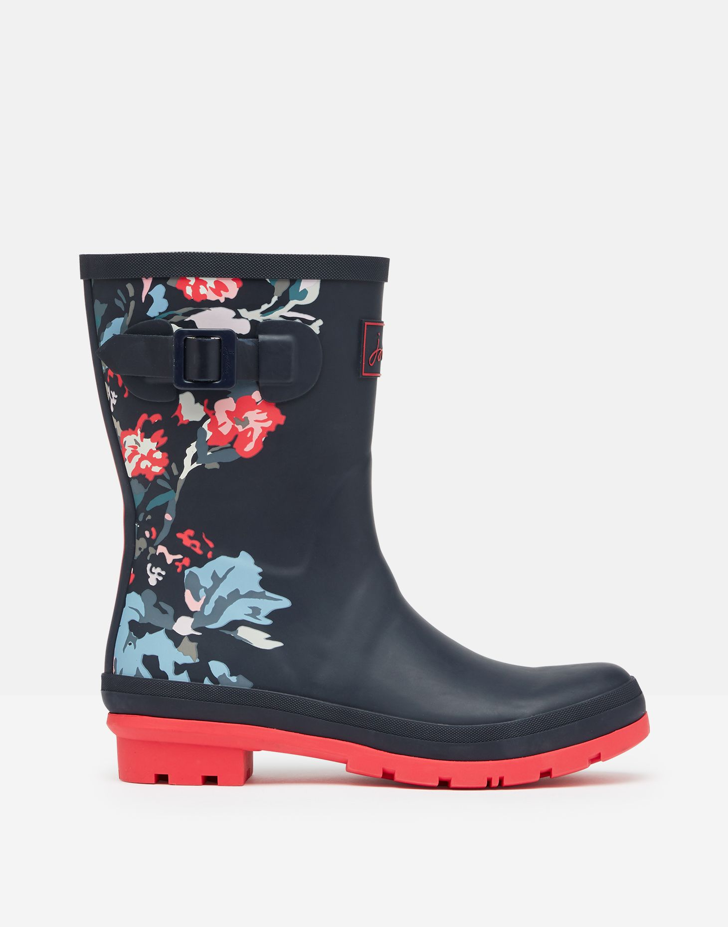 Joules Molly Welly Navy All Over Floral Mid Height Wellingtons Wellies Box Sz 3