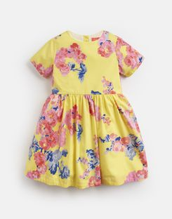 Joules UK Martha Younger Girls Woven Printed Dress 1-6 Yr YELLOW FLORAL