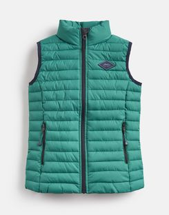 Joules UK Crofton Older Boys Quilted Gilet 1-12 Yr GREEN