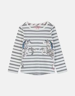 Joules US Ava Older Girls Applique T-Shirt 3-12 Years NAVY STRIPE HORSE