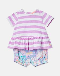 Joules US Romy Baby Girls Jersey Top And Woven Bloomer Set MAUVE STRIPE