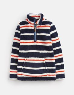 Joules US Woozle Older Boys Half Zip Fleece 1-12 Yr NAVY CREAM MULTI STRIPE