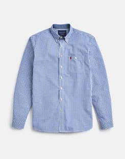 Joules UK Hewney Slim Fit Mens Long Sleeve Peached Poplin Shirt BLUE WHITE GINGHAM