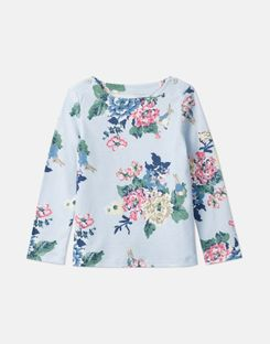 Joules US Harbour Print Younger Girls Official Peter Rabbit™ Collection Jersey Top 1-6 Years LIGHT BLUE RABBIT FLORAL