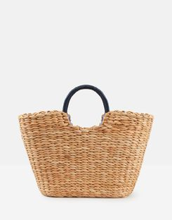 Joules US Dayton Woven Straw Womens Grab Bag Purse NATURAL