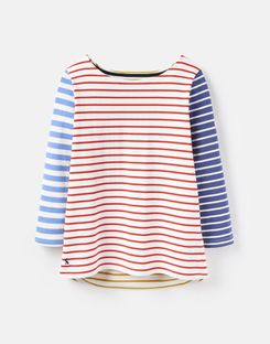 Joules UK Harbour Womens Jersey Top BLUE HOTCHPOTCH