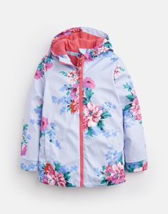 Joules US Raindance Older Girls Waterproof Rubber Coat 1-12 Yr SKY BLUE STRIPE FLORAL