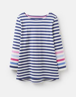 Joules UK Harbour Womens Jersey Top CREAM BLUE STRIPE