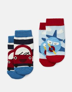 Joules US Neat Feet Baby Boys Pack of Two Character Socks MULTI CAR AND PLANE